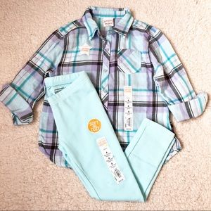 NWT jumping beans plaid top & pant 4t